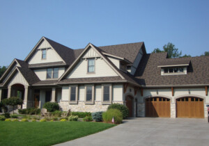 mix of roof pitches and roofing materials